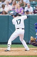 Jay Baum (17) of the Pulaski Mariners at bat against the Burlington Royals at Calfee Park on June 20, 2014 in Pulaski, Virginia.  The Mariners defeated the Royals 6-4. (Brian Westerholt/Four Seam Images)