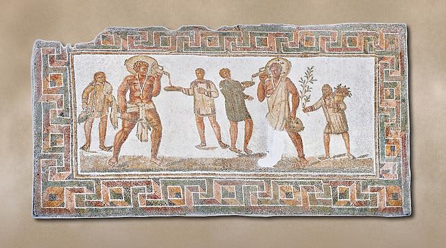 3rd century AD Roman mosaic panel of a drinking scene from Dougga, Tunisia.  The Bardo Museum, Tunis, Tunisia.