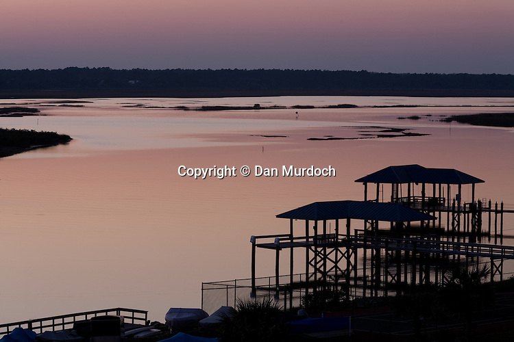 Red sunset over the intracoastal waterway in St. Augustine, Florida