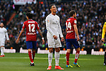 Real Madrid´s Cristiano Ronaldo reacts during 2015/16 La Liga match between Real Madrid and Atletico de Madrid at Santiago Bernabeu stadium in Madrid, Spain. February 27, 2016. (ALTERPHOTOS/Victor Blanco)