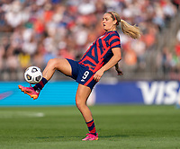 EAST HARTFORD, CT - JULY 5: Lindsey Horan #9 of the USWNT controls the ball during a game between Mexico and USWNT at Rentschler Field on July 5, 2021 in East Hartford, Connecticut.