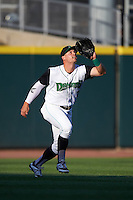 Dayton Dragons outfielder Brian O'Grady (21) catches a fly ball during a game against the Great Lakes Loons on May 21, 2015 at Fifth Third Field in Dayton, Ohio.  Great Lakes defeated Dayton 4-3.  (Mike Janes/Four Seam Images)