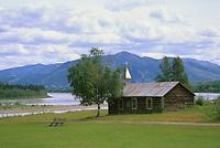 Log cabin church along the Yukon River, Native village, Eagle, Alaska