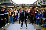 Breakdancing Mersey Square, Stockport Lancashire. 1980s Britain.