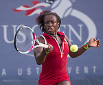 Wildcard Sachia Vickery (USA)  loses to Julia Glushko (ISR) at the US Open being played at USTA Billie Jean King National Tennis Center in Flushing, NY on August 29, 2013
