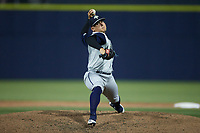 Columbia Fireflies relief pitcher Emilio Marquez (16) in action against the Kannapolis Cannon Ballers at Atrium Health Ballpark on May 20, 2021 in Kannapolis, North Carolina. (Brian Westerholt/Four Seam Images)