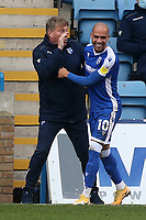 Jordan Graham celebrates scoring Gillingham's first goal with Assistant Manager, Paul Raynor during Gillingham vs Charlton Athletic, Sky Bet EFL League 1 Football at the MEMS Priestfield Stadium on 21st November 2020