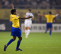 Brazil midfielder (9) Maycon celebrates a goal. Brazil (BRA) defeated the United States (USA) 4-0 during the FIFA Women's World Cup China 2007 at Hangzhou Dragon Stadium in Hangzhou, China, on September 27, 2007. Brazil advances to the finals, while the United States will play in the third place game on September 30th.