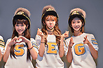 """So-Yul, Ellin and Gum-Mi(CRAYON POP), July 22, 2015 : (L-R)Soyul, Ellin and Gummi of Crayon Pop pose for camera during the promotion event for their new single """"ra ri ru re"""" at Lazona Kawasaki Plaza in Kawasaki, kanagawa prefecture, Japan, on July 22, 2015. They performed the opening act for Lady Gaga's """"ArtRave: The Artpop Ball concert tour"""" in twelve cities across North America on 2014."""
