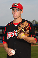 Batavia Muckdogs pitcher Seth Blair (19) poses for a photo before a game vs. the Aberdeen Ironbirds at Dwyer Stadium in Batavia, New York;  August 11, 2010.   Batavia defeated Aberdeen 10-1.  Photo By Mike Janes/Four Seam Images