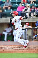 Greeneville Reds designated hitter Juan Martinez (47) swings at a pitch during a game against the Bluefield Blue Jays at Pioneer Park on June 30, 2018 in Greeneville, Tennessee. The Blue Jays defeated the Red 7-3. (Tony Farlow/Four Seam Images)