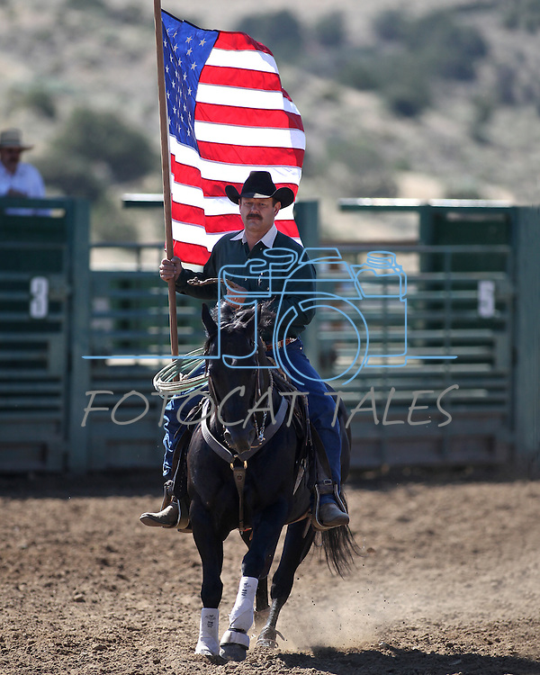 Jimmy Lee rides in the opening ceremony in the Minden Ranch Rodeo on Sunday, July 24, 2011, in Gardnerville, Nev. .Photo by Cathleen Allison