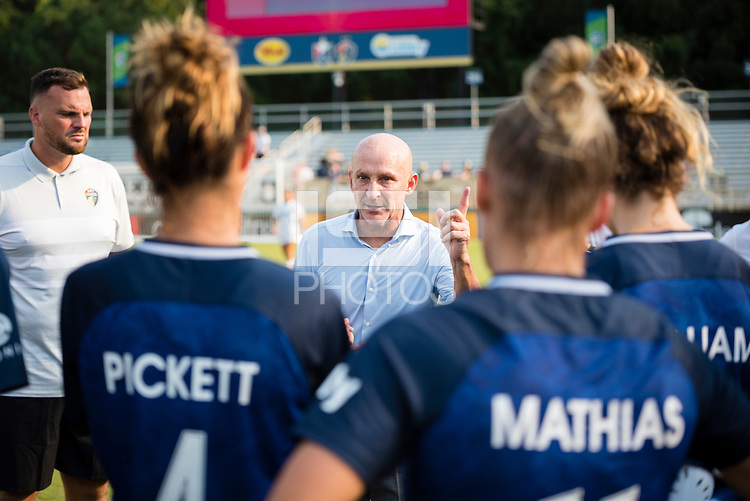 CARY, NC - SEPTEMBER 12: NC Courage head coach Paul Riley addresses his team after a game between Portland Thorns FC and North Carolina Courage at WakeMed Soccer Park on September 12, 2021 in Cary, North Carolina.