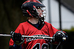 GER - Hannover, Germany, May 30: During the Men Lacrosse Playoffs 2015 match between HTHC Hamburg (black) and DHC Hannover (red) on May 30, 2015 at Deutscher Hockey-Club Hannover e.V. in Hannover, Germany. Final score 17:2. (Photo by Dirk Markgraf / www.265-images.com) *** Local caption *** Carl Neubert #40 of DHC Hannover