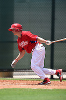 GCL Phillies shortstop Matt Tolbert (10) at bat during a game against the GCL Pirates on June 26, 2014 at the Carpenter Complex in Clearwater, Florida.  GCL Phillies defeated the GCL Pirates 6-2.  (Mike Janes/Four Seam Images)