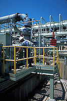 Technician examining equipment at geothermal power plant, Reno Nevada
