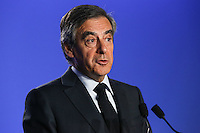 FranÁois Fillon - ConfÈrence de presse de FranÁois Fillon ‡ son QG de campagne ‡ Paris, France, le 01/03/2017.