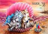 Kayomi, CUTE ANIMALS, paintings, HawaiianSunset_M, USKH78,#AC# illustrations, pinturas ,everyday