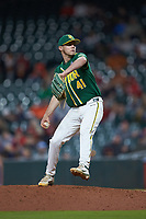 Baylor Bears relief pitcher Luke Boyd (41) in action against the LSU Tigers in game five of the 2020 Shriners Hospitals for Children College Classic at Minute Maid Park on February 28, 2020 in Houston, Texas. The Bears defeated the Tigers 6-4. (Brian Westerholt/Four Seam Images)
