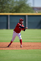 Kia Tigers shortstop Park Hyo-il (042) throws to first base during an Instructional League game against the Colorado Rockies on October 5, 2016 at Salt River Fields at Talking Stick in Scottsdale, Arizona.  (Mike Janes/Four Seam Images)