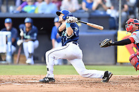 Asheville Tourists Max George (22) swings at a pitch during a game against the Lakewood BlueClaws at McCormick Field on August 3, 2019 in Asheville, North Carolina. The BlueClaws defeated the Tourists 10-6. (Tony Farlow/Four Seam Images)
