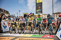 start of the stage in Carcassonne with all the jersey wearers on the first row<br /> <br /> Stage 14 from Carcassonne to Quillan (184km)<br /> 108th Tour de France 2021 (2.UWT)<br /> <br /> ©kramon