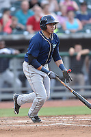 Mobile BayBears first baseman Rudy Flores (34) swings at a pitch during a game against the Tennessee Smokies on May 27, 2015 in Kodak, Tennessee. The Smokies defeated the BayBears 3-2. (Tony Farlow/Four Seam Images)
