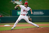 Starting pitcher Chris Murphy (18) of the Greenville Drive in a game against the Greensboro Grasshoppers on Thursday, July 22, 2021, at Fluor Field at the West End in Greenville, South Carolina. (Tom Priddy/Four Seam Images)