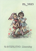 Interlitho, CHILDREN, nostalgic, paintings, 2 girls, guitar(KL3623,#K#) Kinder, niños, nostalgisch, nostálgico, illustrations, pinturas