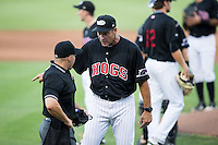 Winston-Salem Dash manager Joel Skinner (35) pleads his case with home plate umpire Chris Scott during the game against the Salem Red Sox at BB&T Ballpark on June 16, 2016 in Winston-Salem, North Carolina.  The Dash defeated the Red Sox 7-1.  (Brian Westerholt/Four Seam Images)