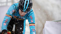 course recon & training by Wout Van Aert (BEL) in the snow<br /> <br /> 2015 UCI World Championships Cyclocross <br /> Tabor, Czech Republic