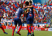 SANTA MARTA- COLOMBIA, 24-02-2019.Abel Aguilar jugador del Unión Magdalena  celebra despues de anotarl el primer gol al Atlético Nacional   durante partido por fecha 6 de la Liga Águila I 2019 jugado en el estadio Sierra Nevada de la ciudad de Santa Marta. / Abel Aguilar player of Union Magdalena   celebrates after scoring  a goal agaisnt of Atletico Nacional  during match for the date 6 as part of the  Aguila League  I 2019 played at the Sierra Nevada Stadium in Santa Marta  city. Photo: VizzorImage / Gustavo Pacheco / Contribuidor