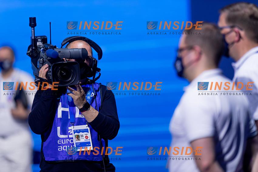 TV Camera<br /> Swimming<br /> Budapest  - Hungary  20/5/2021<br /> Duna Arena<br /> XXXV LEN European Aquatic Championships<br /> Photo Giorgio Scala / Deepbluemedia / Insidefoto