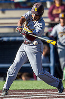 Central Michigan Chippewas outfielder Daniel Robinson (19) swings the bat against the Michigan Wolverines on March 29, 2016 at Ray Fisher Stadium in Ann Arbor, Michigan. Michigan defeated Central Michigan 9-7. (Andrew Woolley/Four Seam Images)