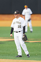 Wake Forest Demon Deacons second baseman Nate Mondou (10) on defense against the Maryland Terrapins at Wake Forest Baseball Park on April 4, 2014 in Winston-Salem, North Carolina.  The Demon Deacons defeated the Terrapins 6-4.  (Brian Westerholt/Four Seam Images)