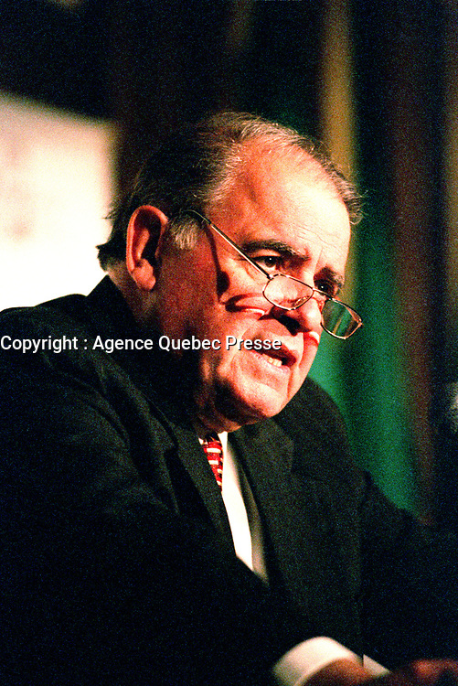 Montreal, May 16, 2000<br /> Enrique V. Iglesias, the President of the Interameriac Bank of Development was one of the guest speakers at the `` Conference of Montreal `` on economy globalization.<br /> <br /> PHOTO :  Agence Quebec Presse