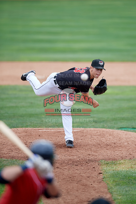 Erie SeaWolves relief pitcher Joe Navilhon (23) delivers a pitch during a game against the New Hampshire Fisher Cats on June 20, 2018 at UPMC Park in Erie, Pennsylvania.  New Hampshire defeated Erie 10-9.  (Mike Janes/Four Seam Images)