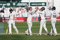 Simon Harmer of Essex celebrates with his team mates after taking the wicket of Ben Charlesworth during Essex CCC vs Gloucestershire CCC, LV Insurance County Championship Division 2 Cricket at The Cloudfm County Ground on 6th September 2021