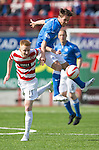Hamilton Academical St Johnstone....04.04.15<br /> Chris Millar gets above Ali Crawford<br /> Picture by Graeme Hart.<br /> Copyright Perthshire Picture Agency<br /> Tel: 01738 623350  Mobile: 07990 594431
