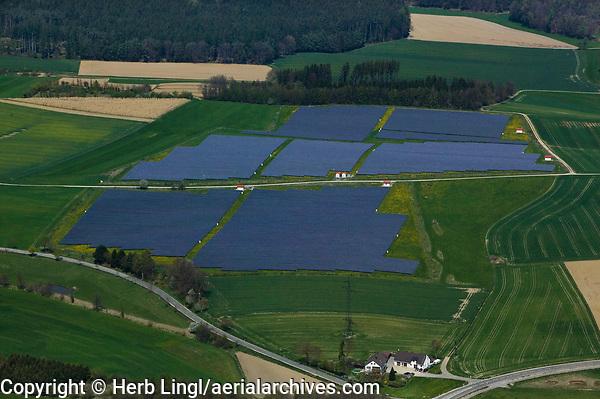 aerial photograh of a solar farm, Bavaria, Germany