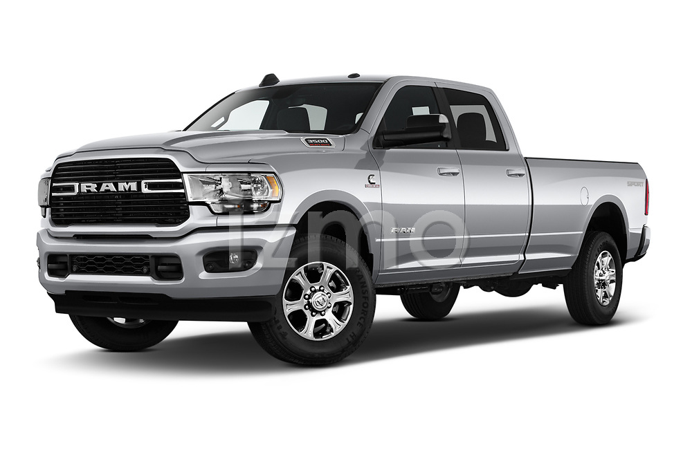 Stock pictures of low aggressive front three quarter view of a 2019 Ram 3500 Big Horn 4 Door Pick Up