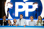 Fernando Martinez Maillo, Soraya Saenz de Santamaria, Elvira Fernandez Balboa, Mariano Rajoy, Maria Dolores de Cospedal and Cristina Cifuentes during the celebration of the victory of the Spanish Elections at the headquarter of Partido Popular in Madrid. June 26, 2016. (ALTERPHOTOS/BorjaB.Hojas)