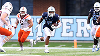 CHAPEL HILL, NC - OCTOBER 10: Dazz Newsome #5 of North Carolina runs with the ball after a catch during a game between Virginia Tech and North Carolina at Kenan Memorial Stadium on October 10, 2020 in Chapel Hill, North Carolina.