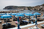 The beach of Sant' Angelo in the southern end of Ischia island in the Tyrrhenian Sea, at the northern end of the Gulf of Naples, Italy.