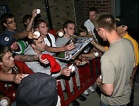 Syracuse Chiefs Starting Pitcher Stephen Strasburg signs autographs for a large crowd that waited two hours after a game vs. the Rochester Red Wings Wednesday, May 19, 2010 at Frontier Field in Rochester, New York.   Syracuse defeated Rochester by the score of 5-1 as Strasburg earned his third win at the Triple-A level with no losses.  Photo By Mike Janes/Four Seam Images