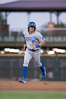 AZL Royals first baseman Logan Porter (8) hustles towards third base during an Arizona League game against the AZL Giants Black at Scottsdale Stadium on August 7, 2018 in Scottsdale, Arizona. The AZL Giants Black defeated the AZL Royals by a score of 2-1. (Zachary Lucy/Four Seam Images)