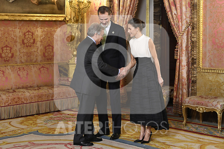 King Felipe VI of Spain (C) and Queen Letizia of Spain (R) receive United Nations Secretary-General Antonio Guterres (L) because of the United Nations conference for the Climate Summit 2019 (COP25) at the Royal Palace. December 2,2019. (ALTERPHOTOS/Pool/Carlos Alvarez)