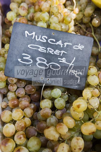 Europe/France/Languedoc-Roussillon/66/Pyrénées-Orientales/Perpignan Sur le Marché- Raisin Muscat de Céret