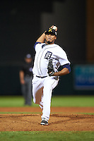 Salt River Rafters pitcher Jeff Thompson (49), of the Detroit Tigers organization, during a game against the Peoria Javelinas on October 11, 2016 at Salt River Fields at Talking Stick in Scottsdale, Arizona.  The game ended in a 7-7 tie after eleven innings.  (Mike Janes/Four Seam Images)