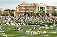 Charlotte 49ers Inaugural NCAA college football game between the University of North Carolina at Charlotte and Campbell in Charlotte, N.C., Saturday, Aug. 31, 2013.  Charlotte went on to beat Campbell 52-7 at Jerry Richardson Stadium in front 15,000 fans.<br /> <br /> Photo by: PatrickSchneiderPhoto.com